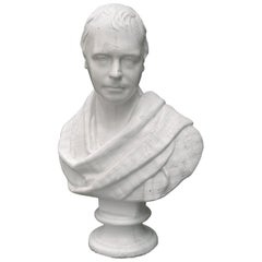 19th-20th Century American Glazed Terracotta Bust of Robert Burns, Labeled NY