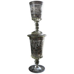 19th-20th Century Antique Double Goblet Schwarzlot Style