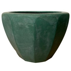 19th-20th Century Arts & Crafts Style Green Pottery Cachepot, Marked 247