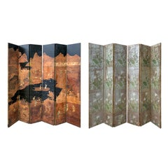 19th-20th Century Asian Chinoiserie Double Sided Six-Panel Mulberry Paper Screen