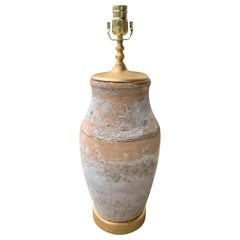 19th-20th Century Asian Pottery Lamp on Custom Giltwood Base