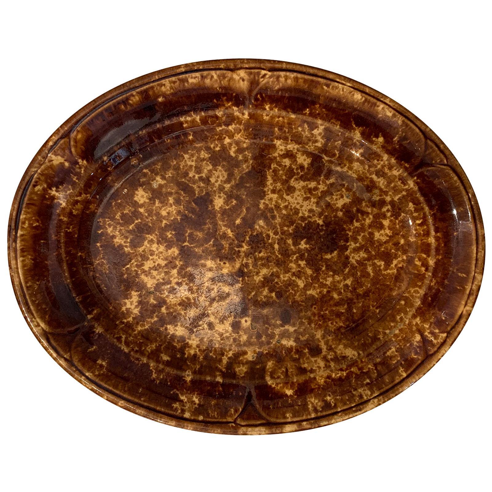 19th-20th Century Bennington Ware Pottery Oval Platter