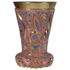 Bohemian European Overlaid Pink Opaline Glass Goblet 19th-20th Century