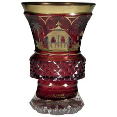 Bohemian Ruby Glass Goblet Gold Paint Chinoiserie Motive 19th-20th Century