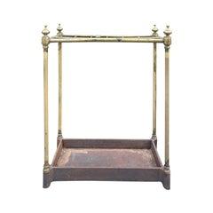 19th-20th Century Brass and Iron Umbrella Stand