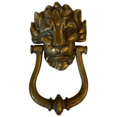 19th-20th Century Bronze Lion Door Knocker with Strike