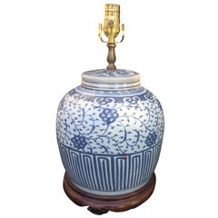 19th-20th Century Chinese Blue and White Covered Porcelain Jar as Lamp