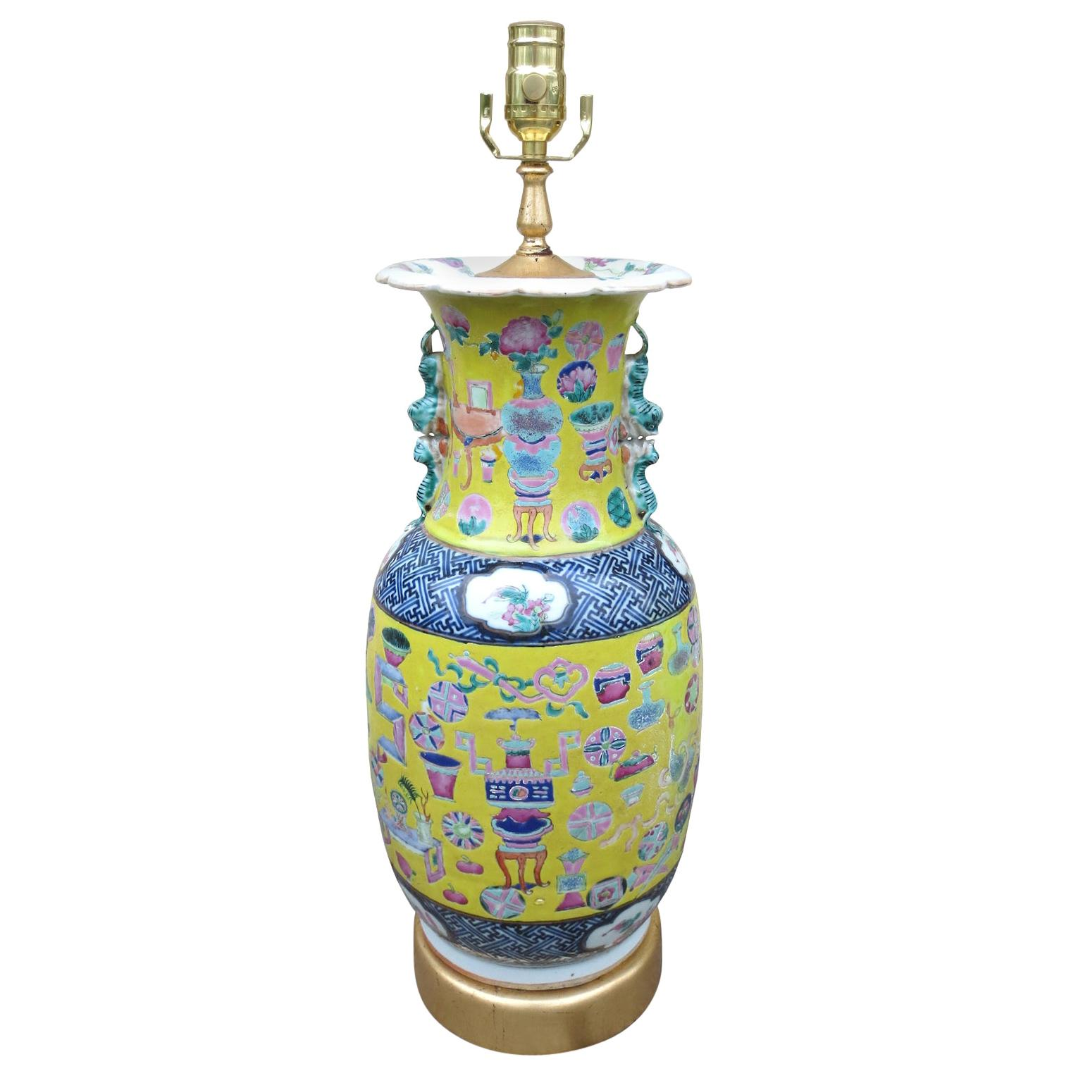 19th-20th Century Chinese Porcelain Vase as Lamp, Custom Giltwood Base