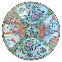 19th-20th Century Chinese Rose Medallion Porcelain Charger