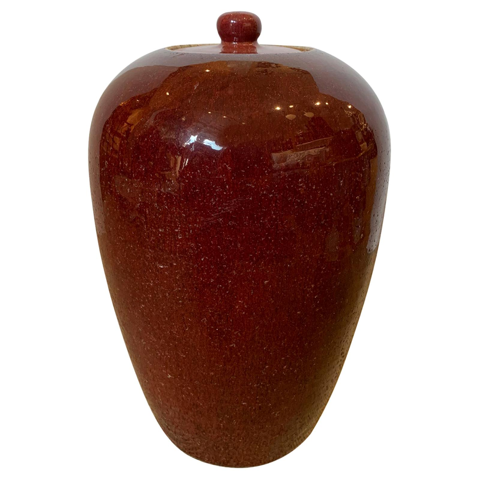 19th-20th Century Chinese Sang de Boeuf Ox Blood Red Flambe Glazed Vase