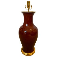 19th-20th Century Chinese Sang de Boeuf Oxblood Porcelain Vase as Lamp