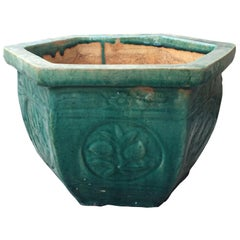 19th-20th Century Chinese Turquoise Blue Hexagonal Pottery Cachepot Planter
