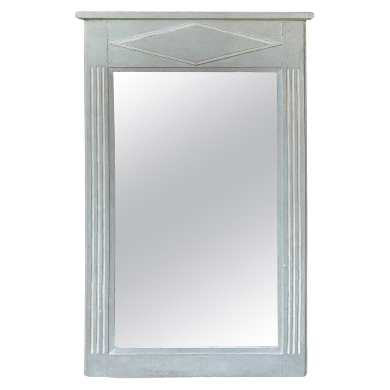 19th-20th Century Continental Mirror with Inlaid Diamond, Custom Finish