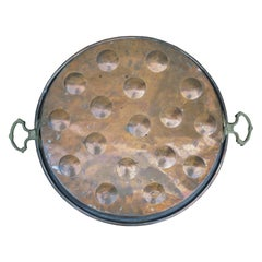 19th-20th Century Copper and Tole Pan with Brass Handles