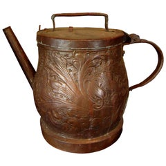 19th-20th Century Eastern Continental Copper Watering Can with Lid