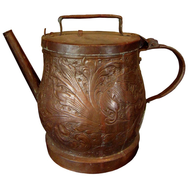 19th-20th Century Eastern Continental Copper Watering Can with Lid For Sale