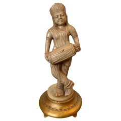 19th-20th Century Eastern Indian Marble Figure on Giltwood Base