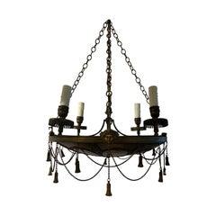 19th-20th Century Empire Style Bronze Chandelier