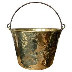 19th-20th Century English Brass Bucket with Iron Handle