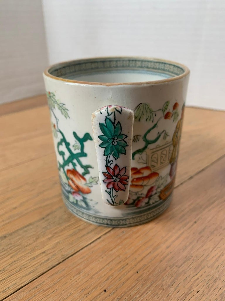 19th-20th Century English Porcelain Mug, Unmarked For Sale 6