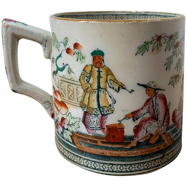 19th-20th Century English Porcelain Mug, Unmarked For Sale