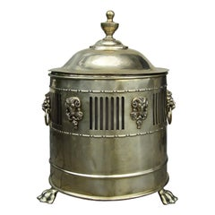 19th-20th Century English Regency Style Brass Coal Hod with Removable Liner