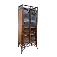 19th-20th Century English Tall Bamboo Cabinet or Bibliotheque with Glass Doors