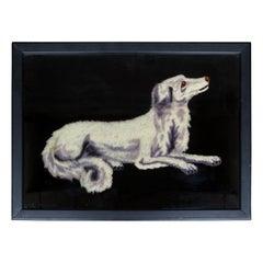 19th-20th Century Framed Needlework of Grey & White Dog