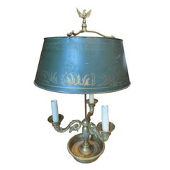 19th-20th Century French Bronze Bouillotte Lamp with Tole Shade