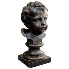 19th-20th Century French Bronze Bust of Young Boy