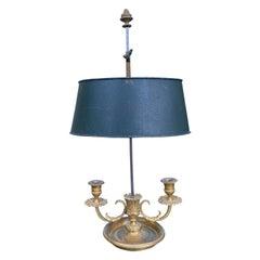 19th-20th Century French Gilt Bronze Bouillotte Lamp, Green Tole Shade