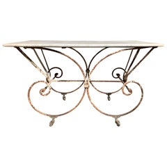 19th-20th Century French Iron and Marble Pastry Table