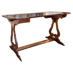 19th-20th Century French Long Kidney Shaped Sofa Table/Console with Stretcher