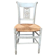 19th-20th Century French Painted Side Chair with Rush Seat