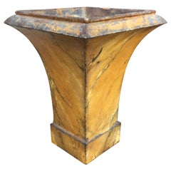 19th-20th Century French Tole Marbleized Mustard Urn