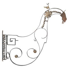 19th-20th Century French Wrought Iron Rooster Architectural Hanging Sign