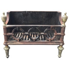 19th-20th Century George III Style Cast Iron and Brass Fire Grate