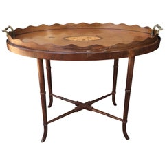 19th-20th Century Georgian Style Tray Table on Stand with Inlaid Shell Motif
