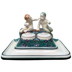 19th-20th Century German Porcelain Figural Inkwell, Marked