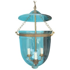 19th-20th Century Glass Bell Jar Three-Light Lantern with Brass Banding