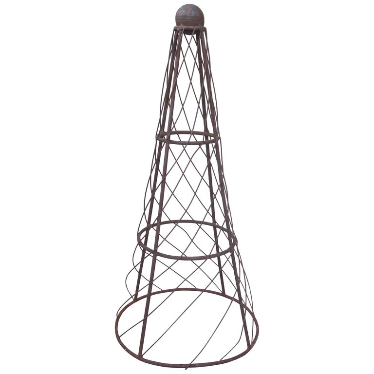 19th-20th Century Iron Cone Topiary For Sale