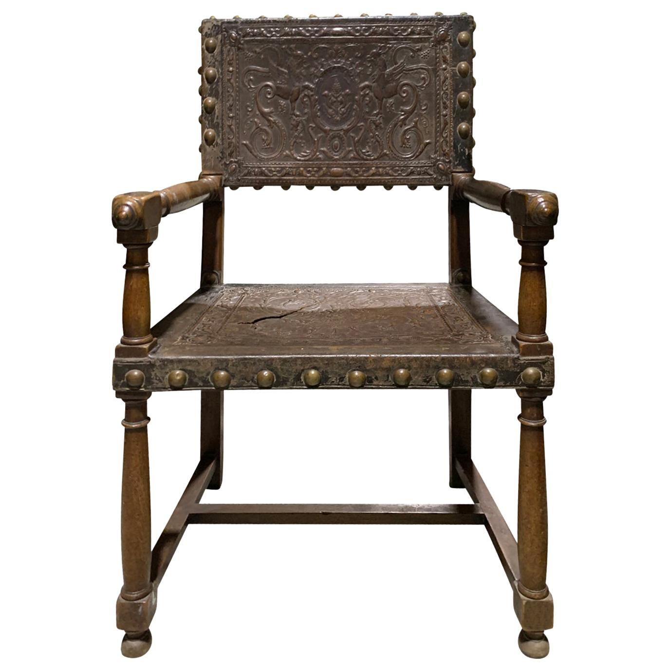 19th-20th Century Italian Armchair with Embossed Leather