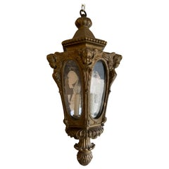 19th-20th Century Italian Carved Giltwood Lantern with Cherubs