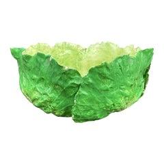 19th-20th Century Italian Majolica Napoli Green Lettuce Ware Bowl, Marked