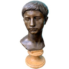 19th-20th Century Italian Neoclassical Bronze Bust of Youth on Marble Base