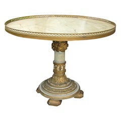 19th-20th Century Italian Polychrome Pedestal Coffee Table, Old Elements