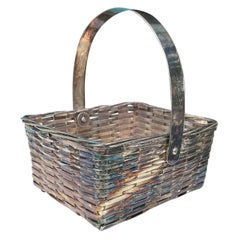 19th-20th Century Large F.B. Rogers Silver Plate Woven Basket, Marked