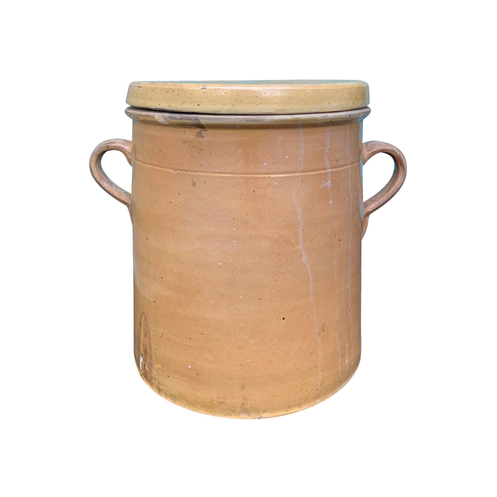 19th-20th Century Large French Crock with Lid