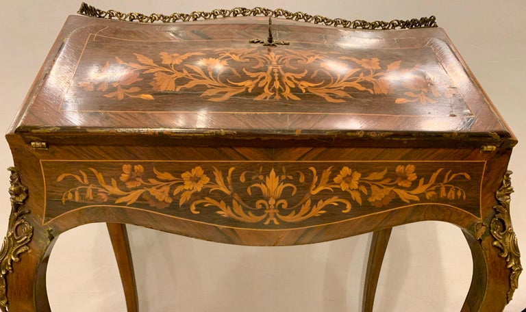 Metal 19th-20th Century Louis XV Style Bombe French Marquetry Inlaid Desk For Sale