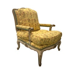 19th-20th Century Louis XV Style Painted French Fauteuil Chair with Blue Accents